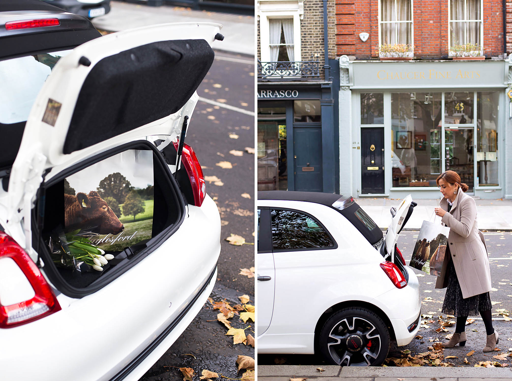 Driving the Fiat 500 S Convertible TwinAir city car in London