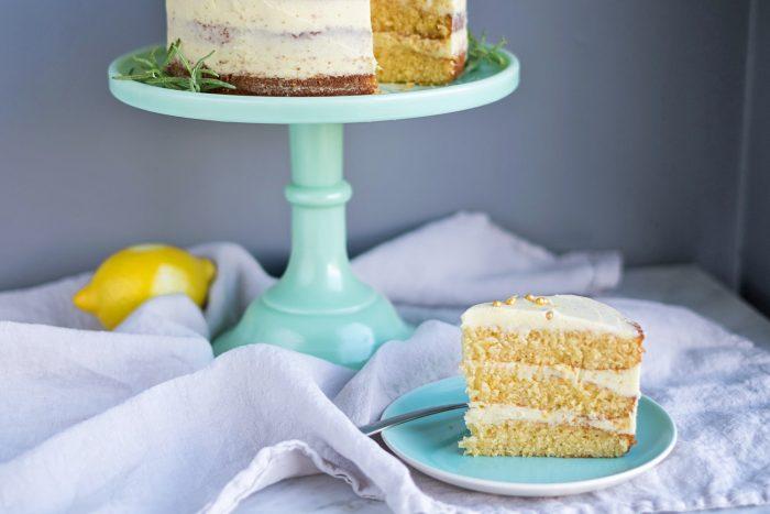 Lemon Cake with Rosemary Buttercream Frosting