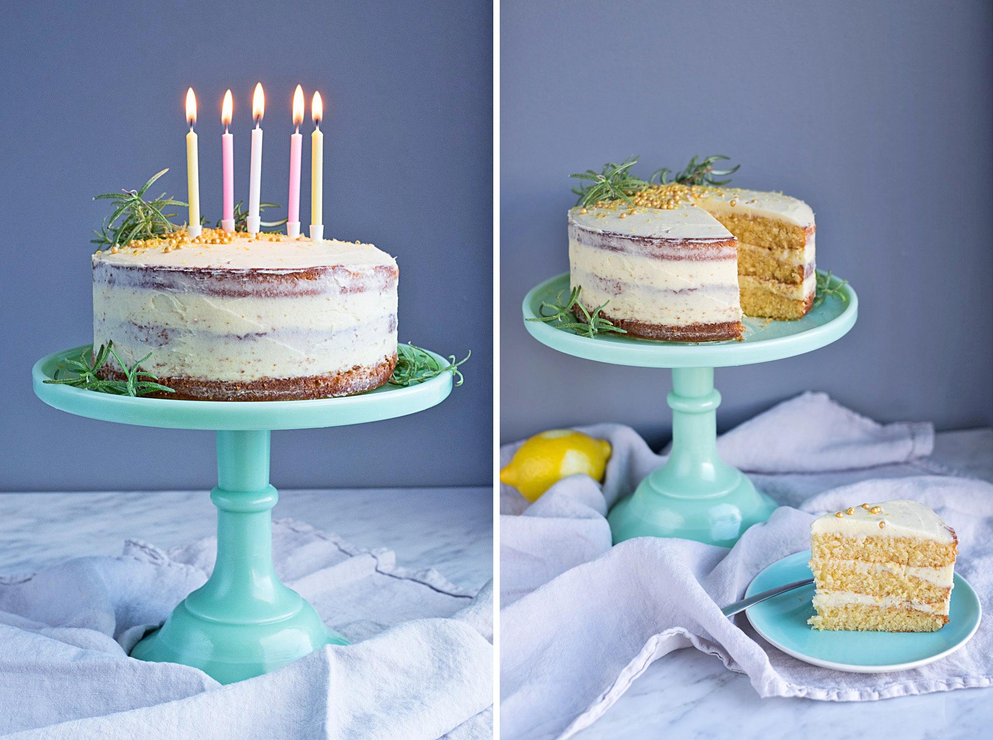 Lemon Cake with Rosemary Buttercream Frosting.