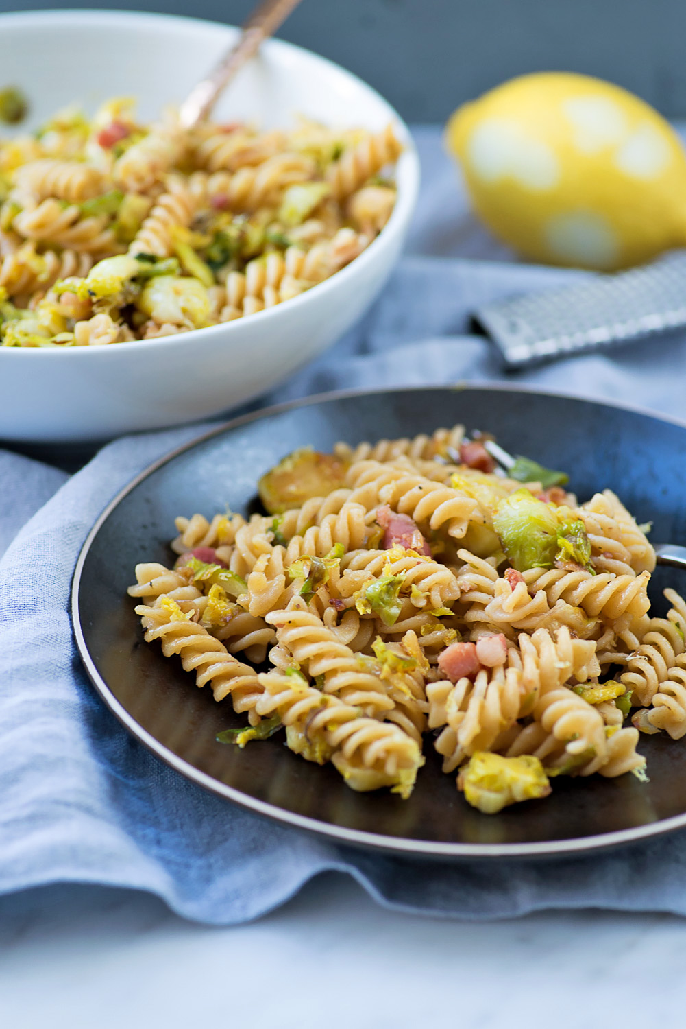 Barilla Wholemeal Fusilli with Brussels Sprouts, Pancetta, Walnuts and Lemon Zest