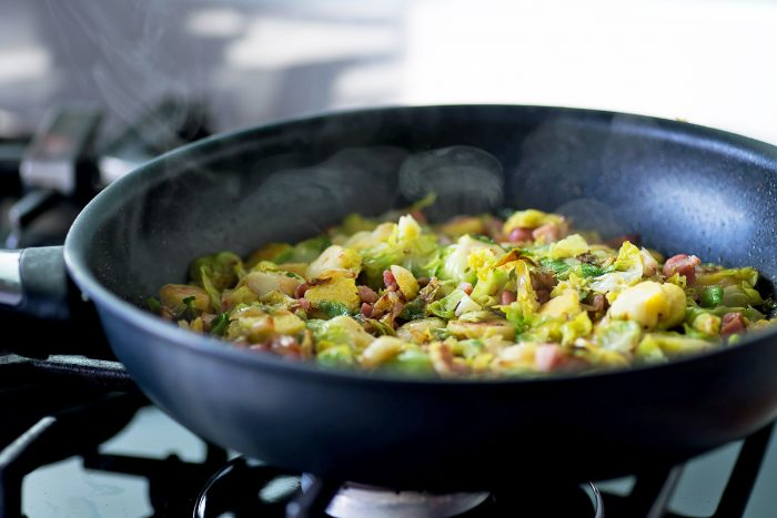 Wholemeal Fusilli with Brussels Sprouts, Pancetta, Walnuts and Lemon Zest