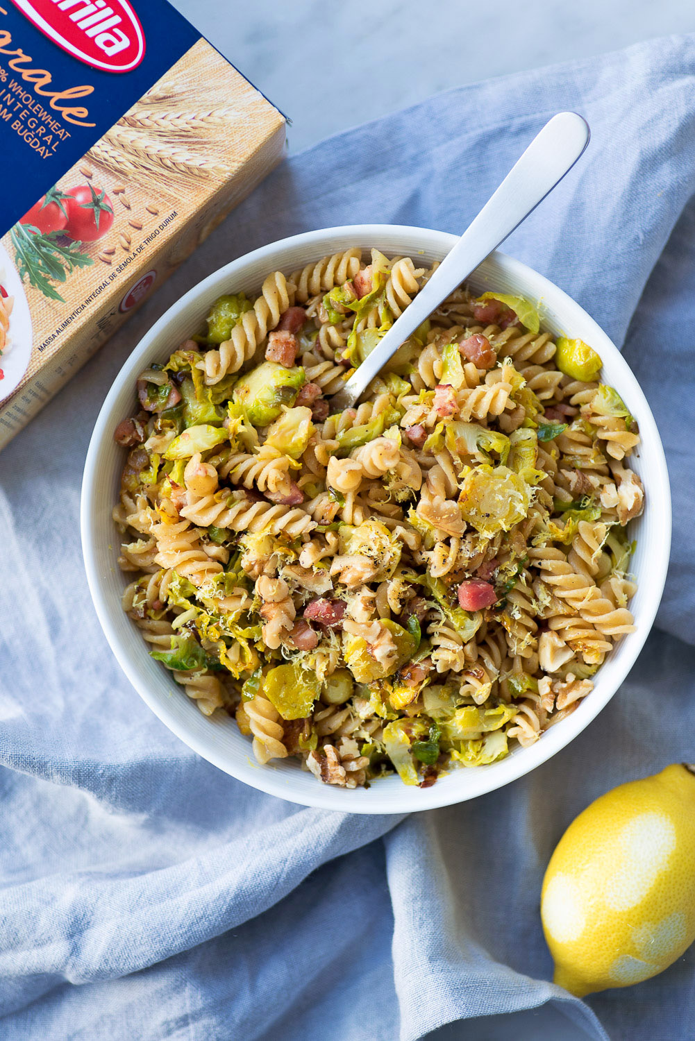 Pasta with Brussels Sprouts, Pancetta, Walnuts and Lemon Zest