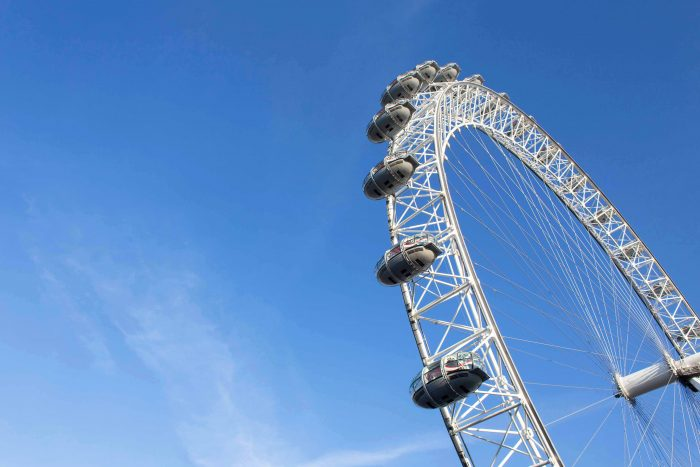 The London Eye, or the Millennium Wheel, on the South Bank of the River Thames in London
