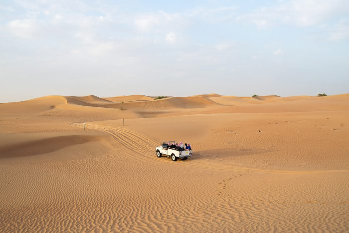 Driving in the desert in vintage Land Roverswith Platinum Heritage Tours in Dubai UAE