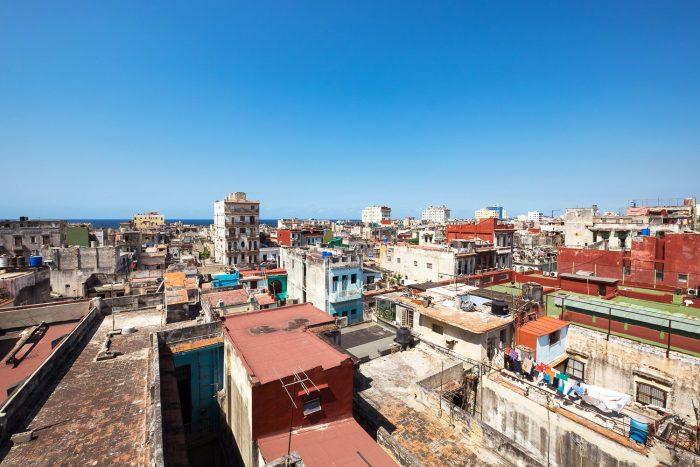 A bird's eye view of the rooftops in Havana Vieja, Cuba