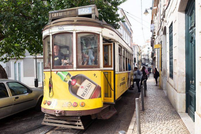 Tram 28 in Barrio Alto, Lisbon