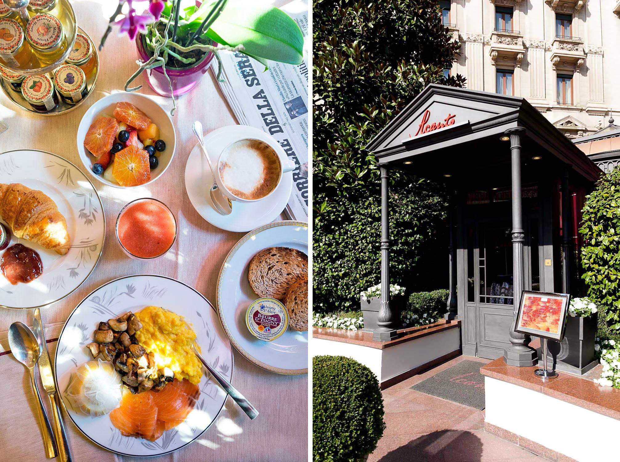 Breakfast at Acanto Restaurant at Five Star Hotel Principe di Savoia, Dorchester Collection, Milan