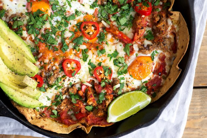 Baked Huevos Rancheros with British Lion Eggs, Refried Black Beans and Avocado