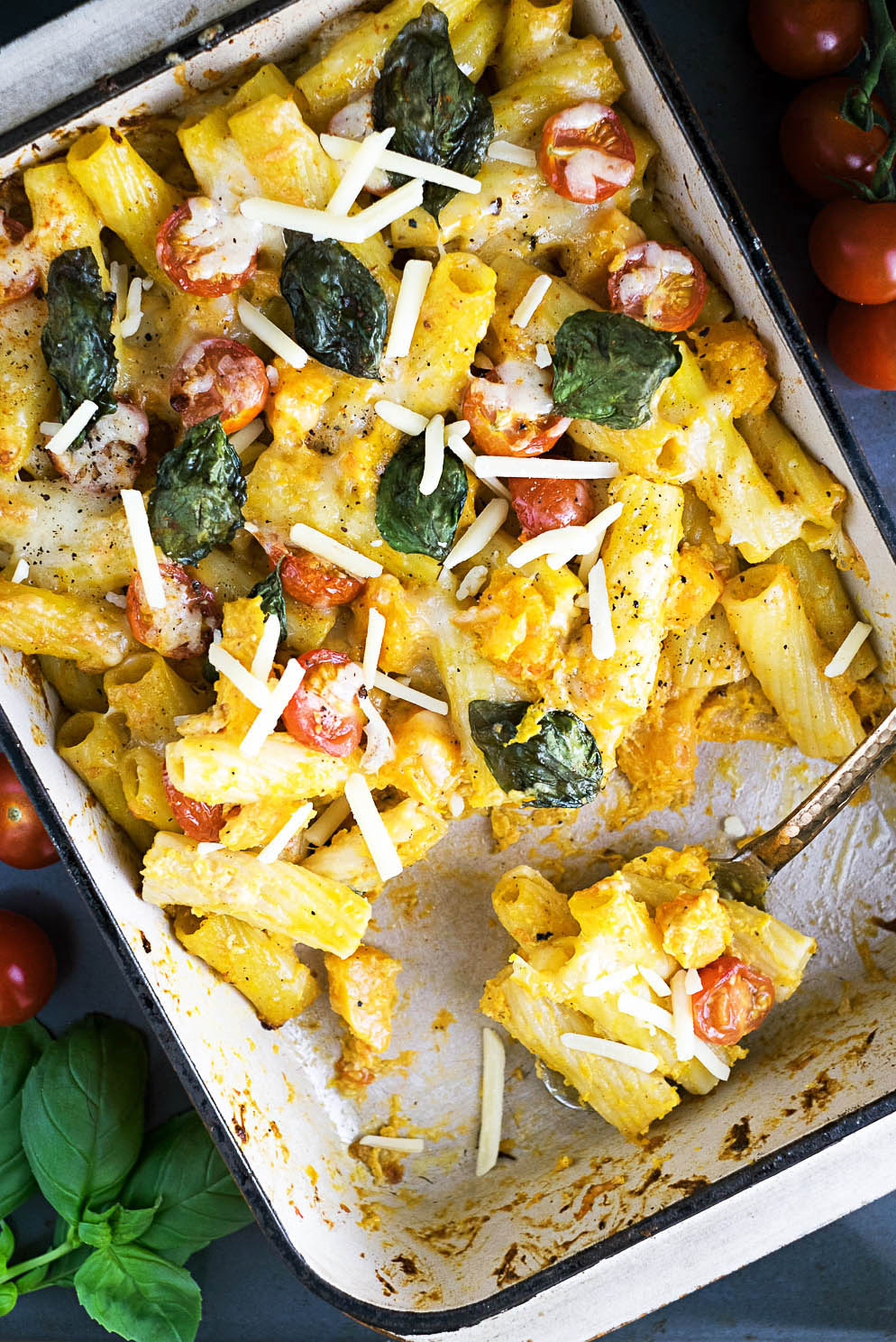 Butternut Squash, Tomato and Cheese Pasta Bake with Arla Lactofree Cheddar and Cream