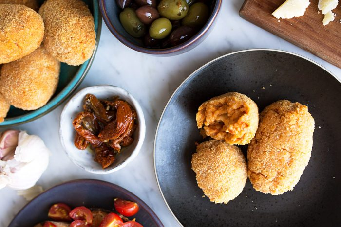 Roman style antipasti with Supplì - Roman Fried Risotto Balls