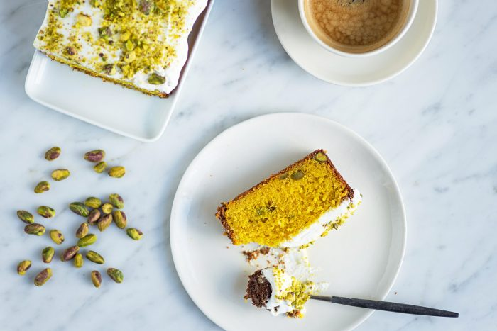 Turmeric and Pistachio Cake with Icelandic Skyr Frosting