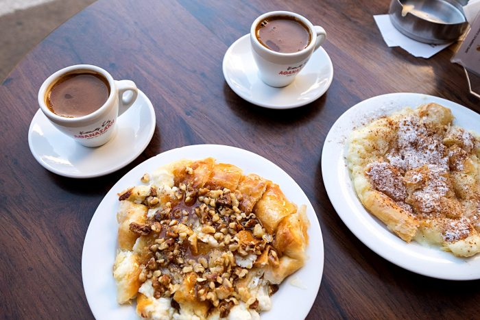 Stop at Fillosofies or Kirkor in Heraklion, Crete. Order Greek coffee and bougatsa, a paper-thin cake made of fillo pastry filled with sweet semolina custard and honey.