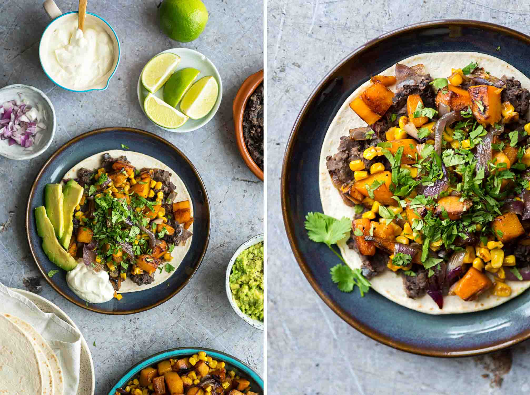 Veggie Tacos with Deli Kitchen Tacotillas, refried black beans, roasted butternut squash and sweetcorn