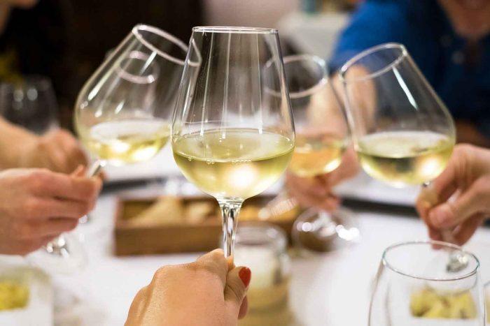 White wine glasses in a restaurant in Spain