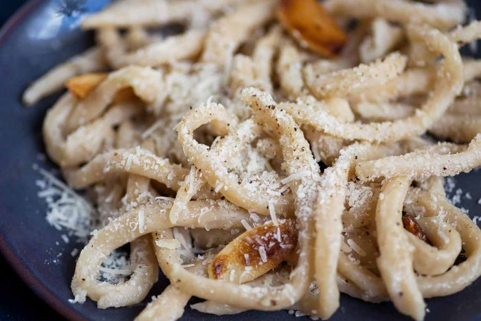 Homemade Tuscan Pici Pasta with Cacio e Pepe