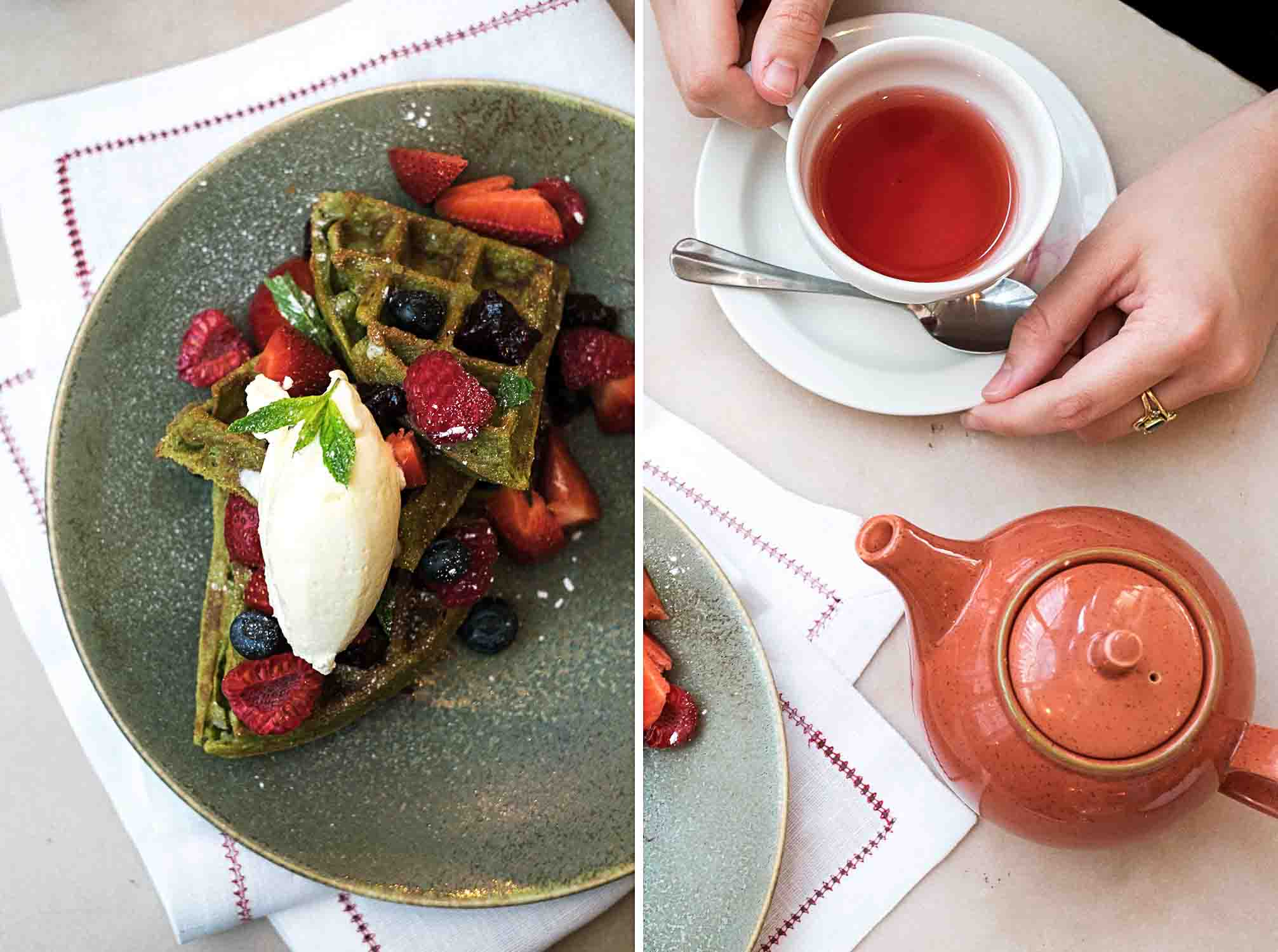 Brunch at Rail House Café in Nova, Victoria - Green Tea Belgian Waffles