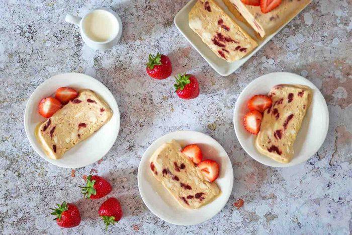 No-churn Strawberries and Cream Semifreddo recipe Inspired by Häagen-Dazs at Wimbledon 2017