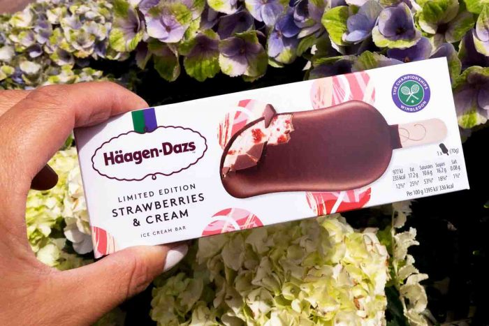 Limited edition Häagen-Dazs X Bjorn Borg strawberries and cream ice cream bar available at Wimbledon 2017