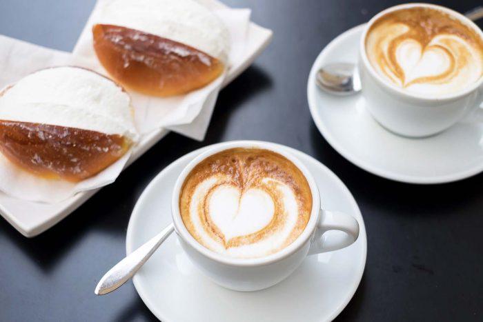 Breakfast in Rome with cappuccino and maritozzo