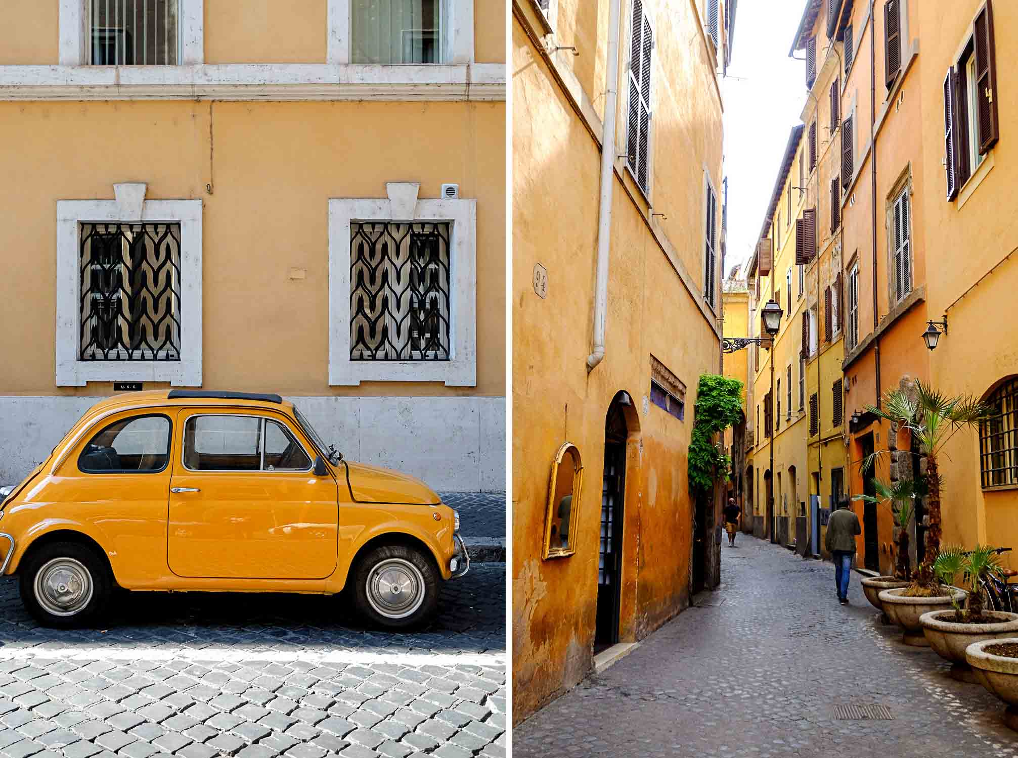 Walking through the old neighbourhoods of Rome in Italy