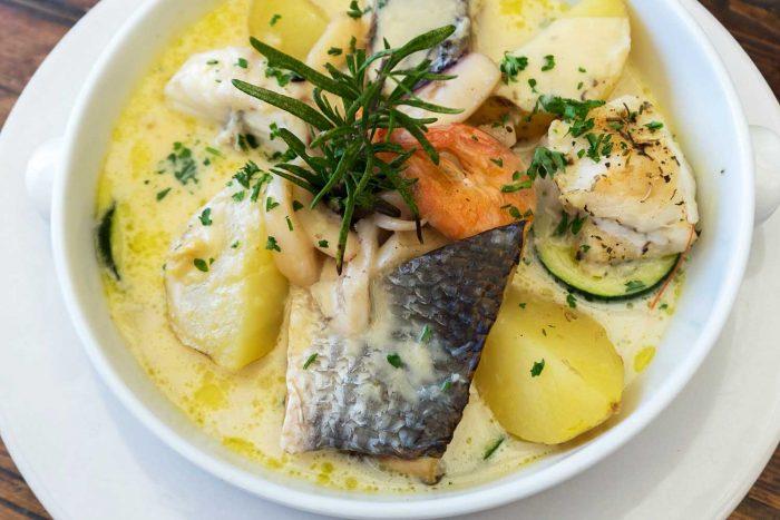 Potato and seafood soup in Ile de Re, La Rochelle, France