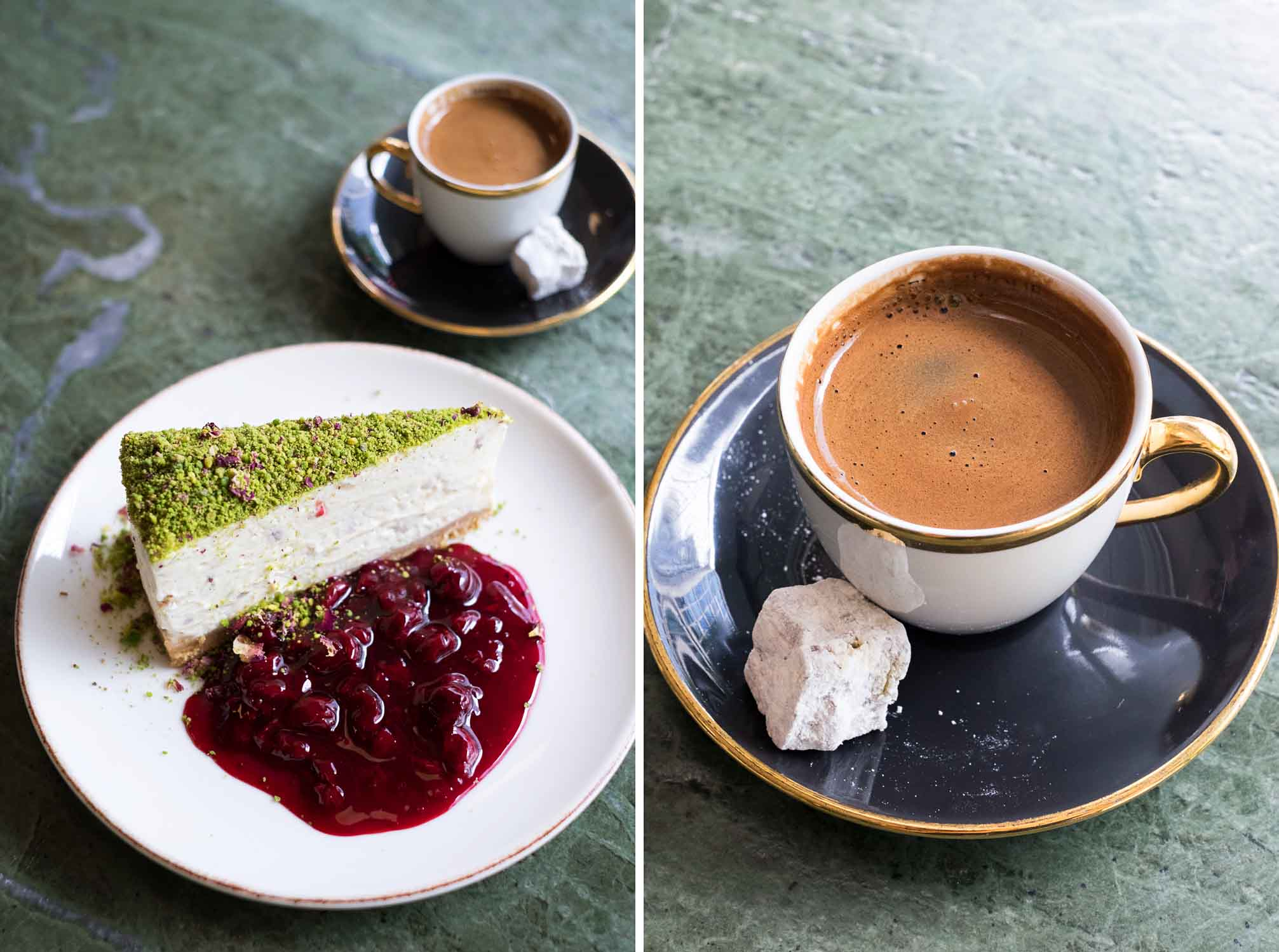 Turkish coffee and Pistachio cheesecake - From the streets of Istanbul to London: an authentic Turkish meal at Yosma in Marylebone