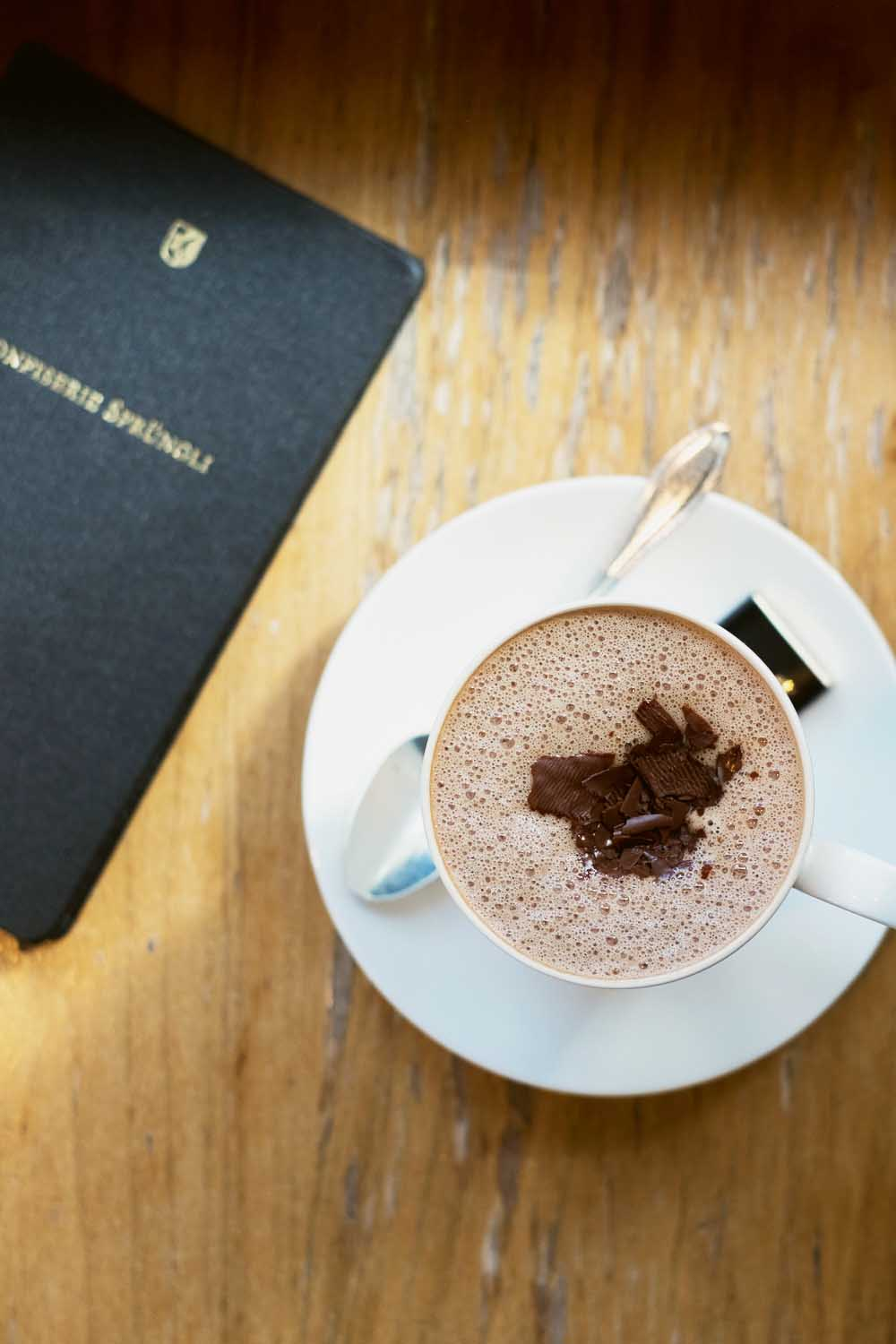 Hot chocolate at Confiserie Sprüngli in Zurich, Switzerland