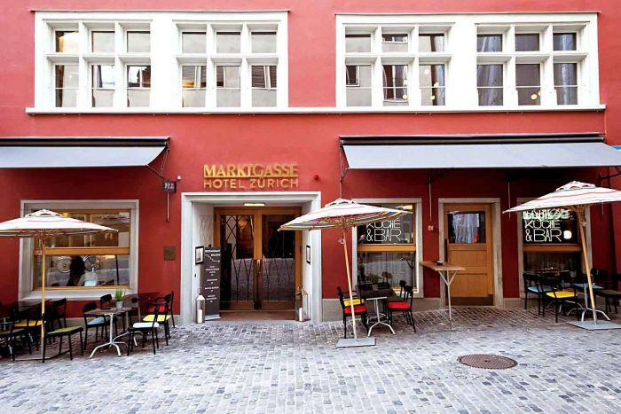 Marktgasse Hotel is housed in one of Zurich's oldest inns in the district of Niederdorf, on the eastern bank of the Limmat river.