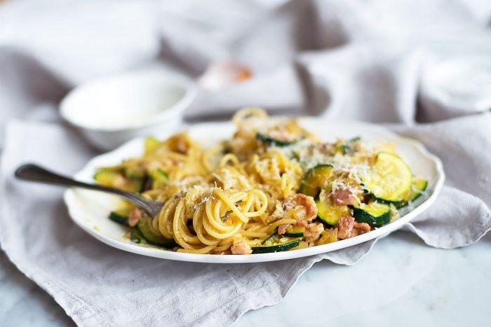 Spaghetti alla Carbonara with eggs, bacon, pecorino cheese and courgettes