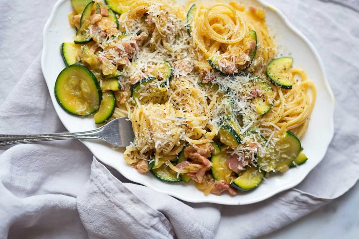 Spaghetti alla Carbonara with Courgettes