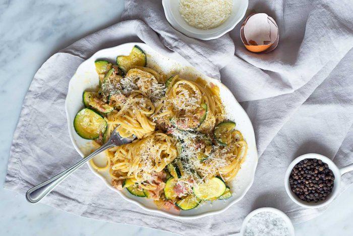 Spaghetti alla Carbonara with Courgettes