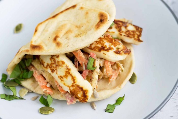 For a quick lunch to-go, choose Deli Kitchen new range of Flatbread Thins with a homemade Tahini Carrot & Apple Slaw and Grilled Halloumi Cheese.