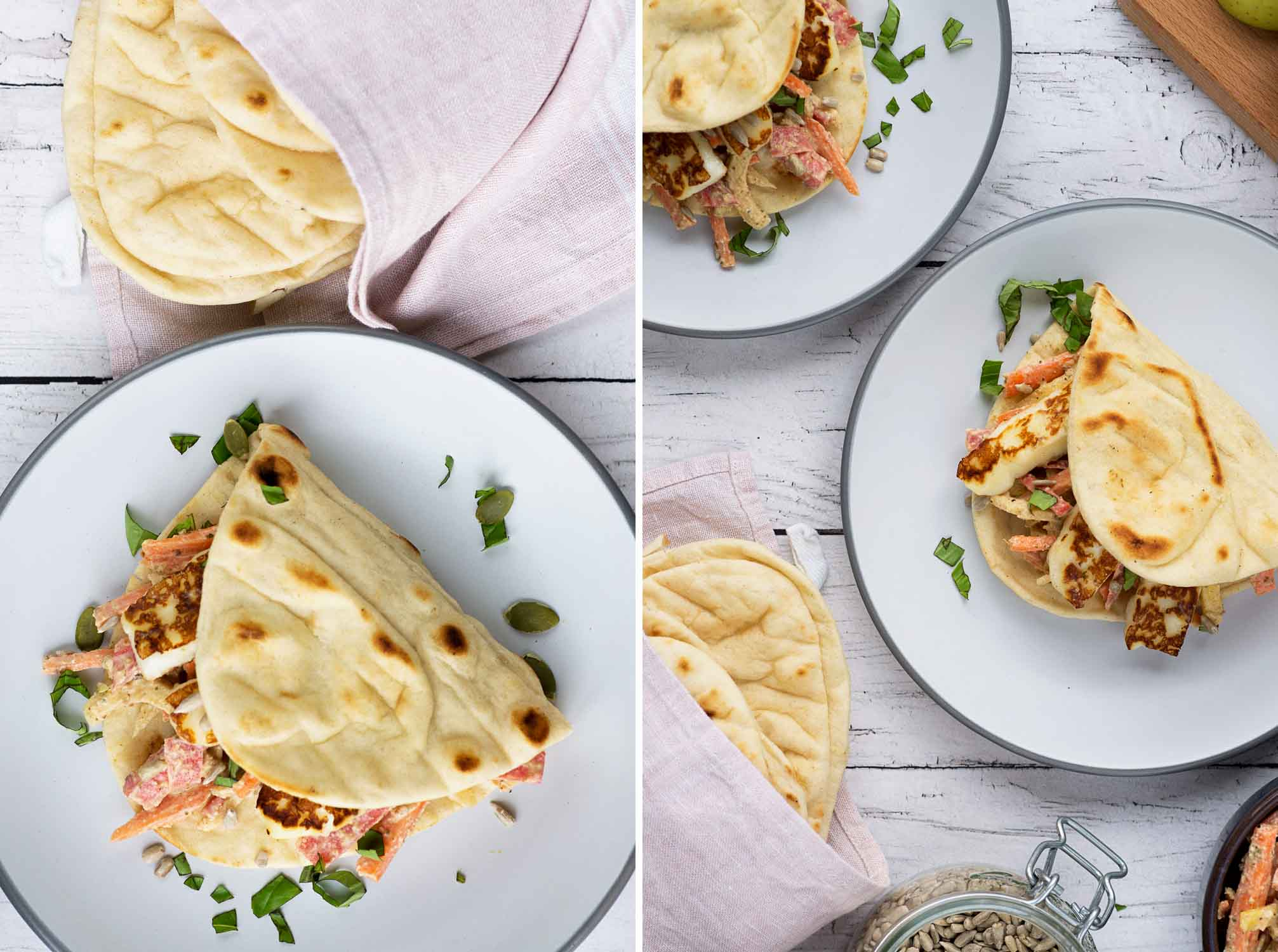 Lunch to-go: Deli Kitchen Flatbread Thins with Tahini Carrot and Apple Slaw and Grilled Halloumi Cheese