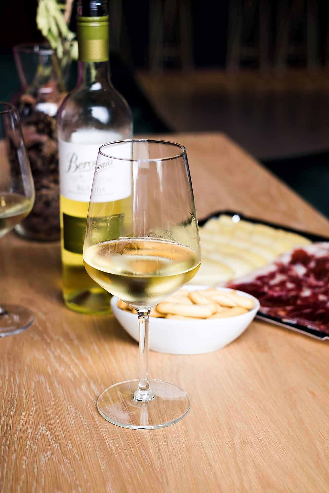 white rioja wine at Beronia winery in Spain