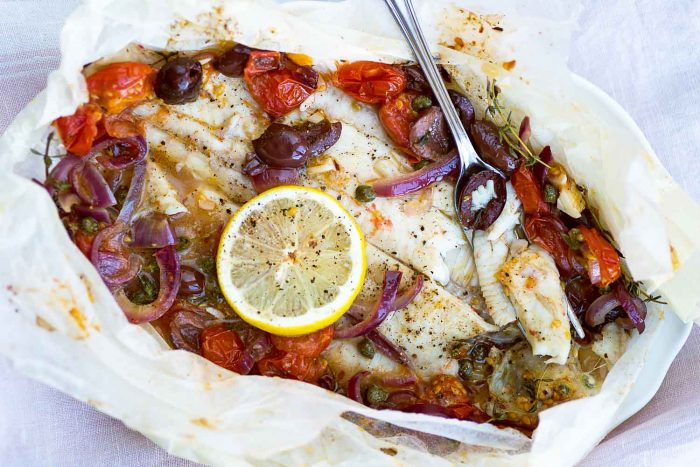 Dover Sole En Papillote with Tomatoes, Capers and Olives