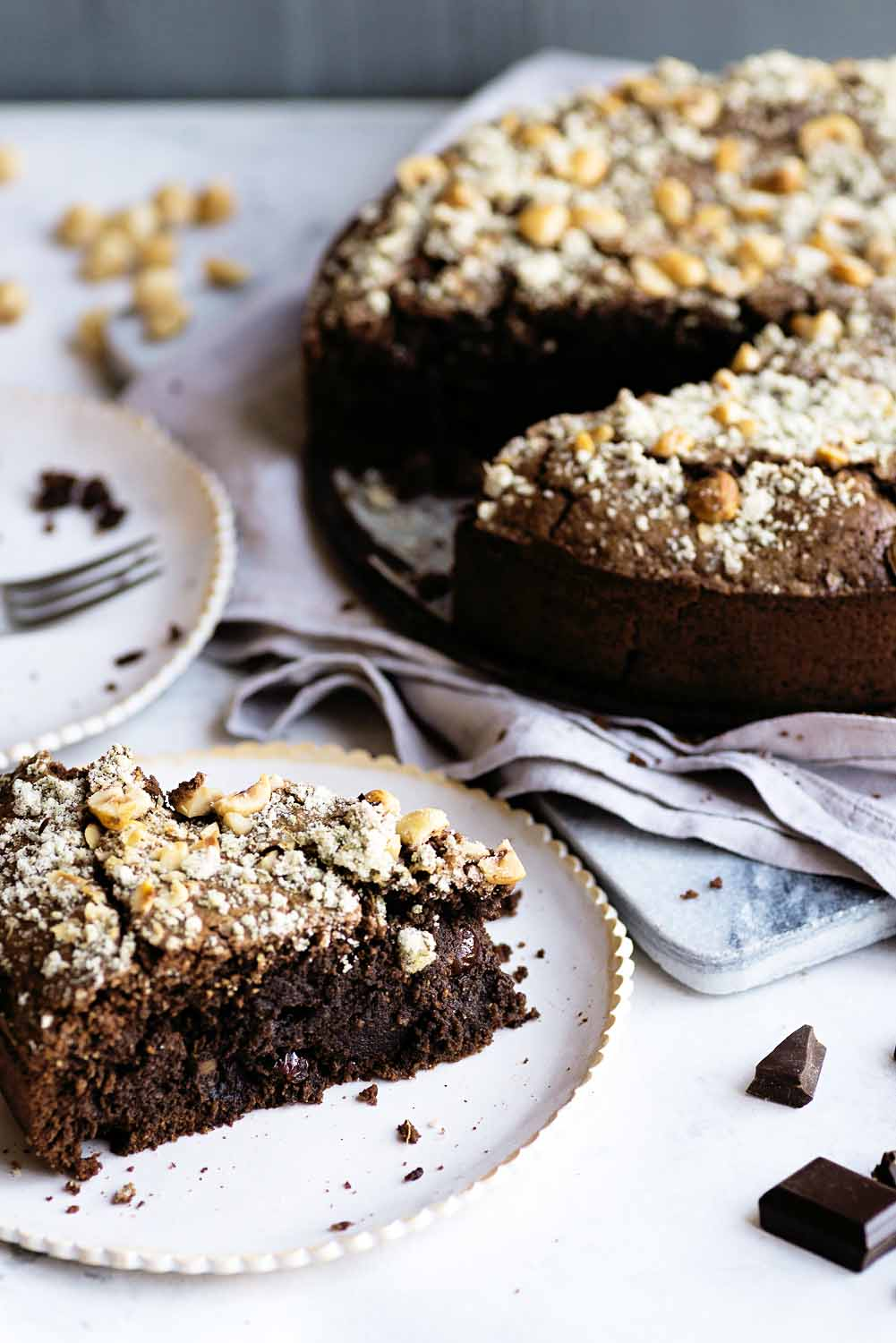 Chocolate and Hazelnut Cake with Rum Raisins and Rosemary Sugar by Nigel Slater
