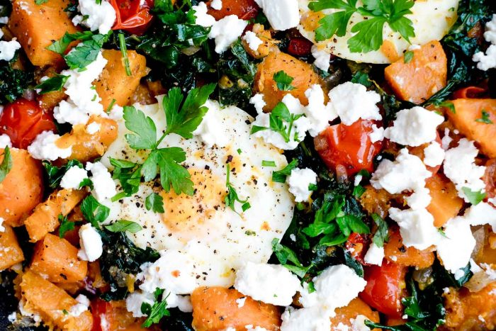 Sweet Potato and Kale Hash with Poached Eggs