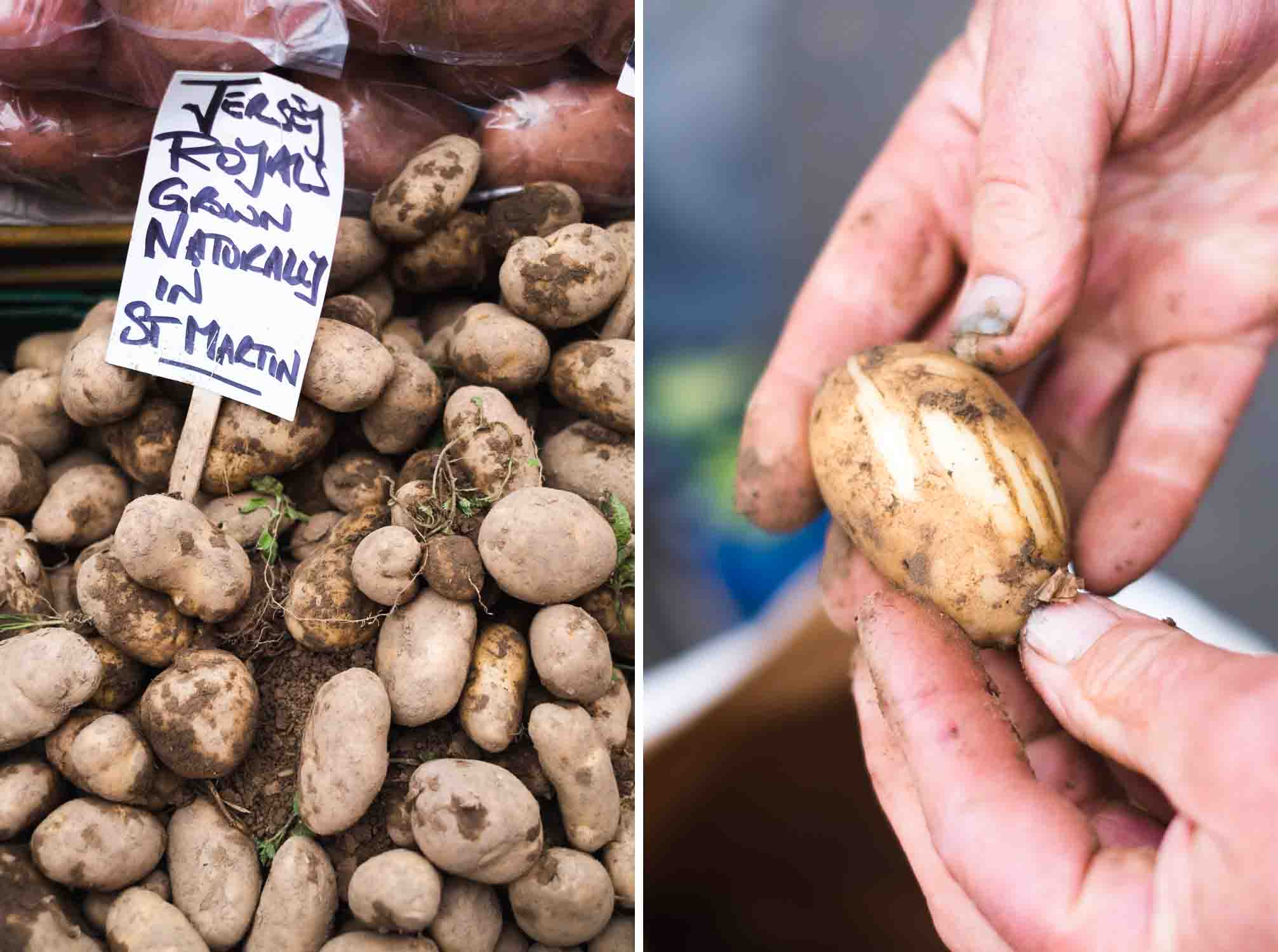 Jersey Royals potatoes - Central Market in Saint Helier - A Culinary Getaway in Jersey, Channel Islands