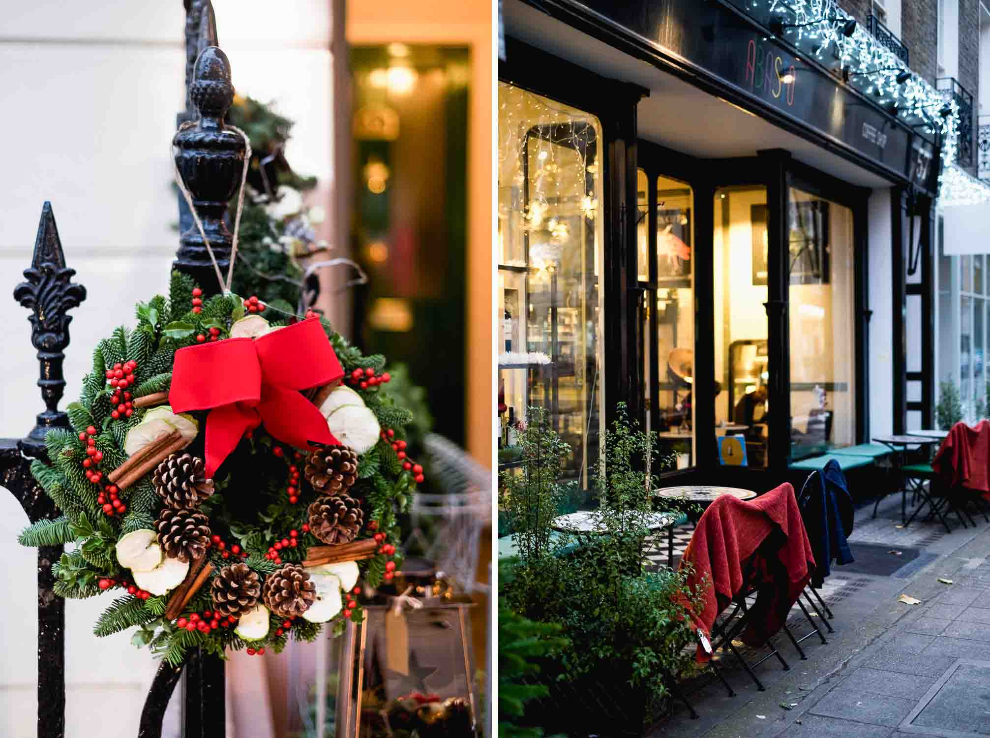 Christmas decorations in Connaught Village, London