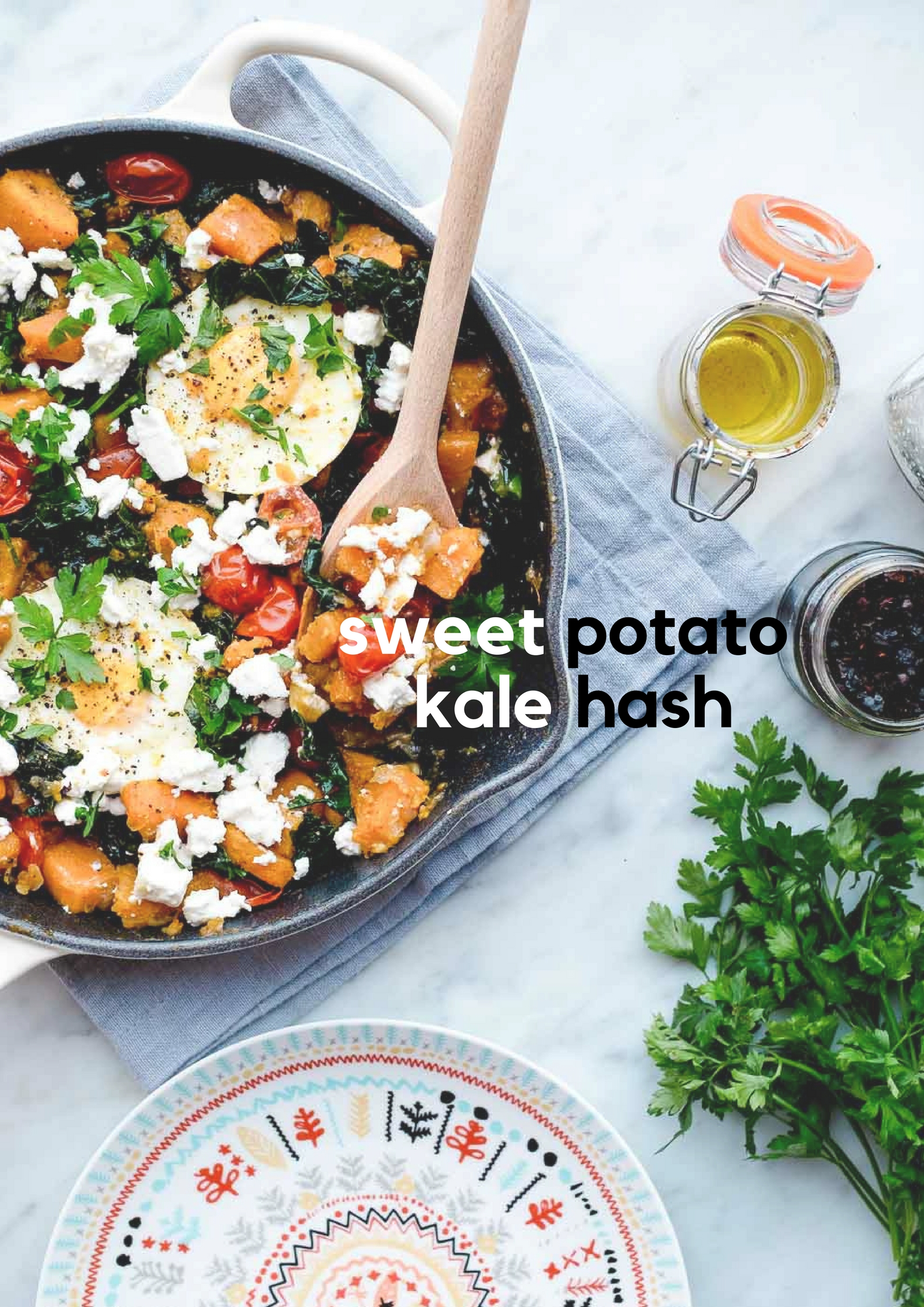 Sweet Potato and Kale Hash with Poached Eggs and Feta Cheese