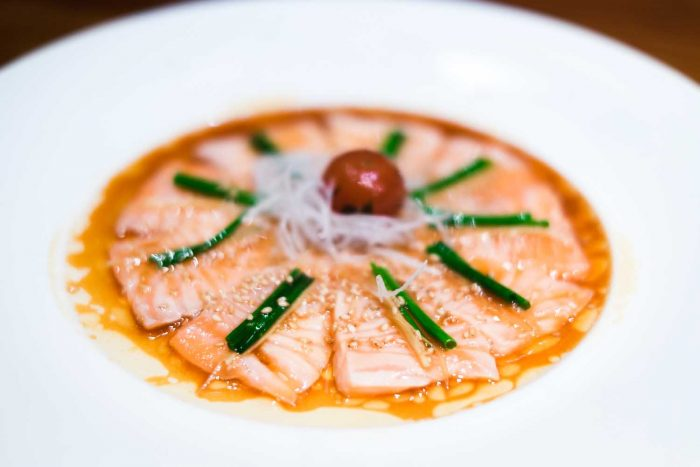 Salmon Sashimi - Nobu restaurant at Puente Romano Beach Resort in Marbella, Spain