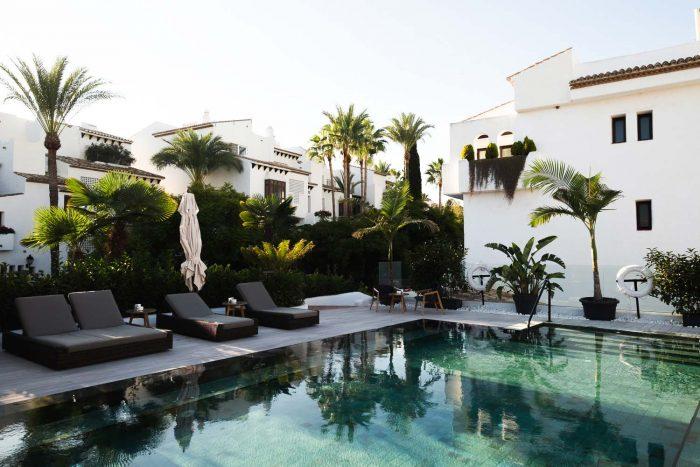 Nobu Hotel swimming pool at Puente Romano Beach Resort, Marbella Spain