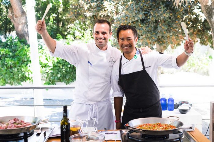 Paella cooking class at Sea Grill restaurant at Puente Romano Beach Resort in Marbella