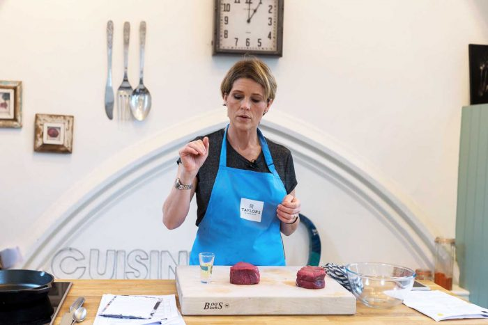 Cooking demo at Cactus Kitchens in London - making Berbere Spiced Beef Filets