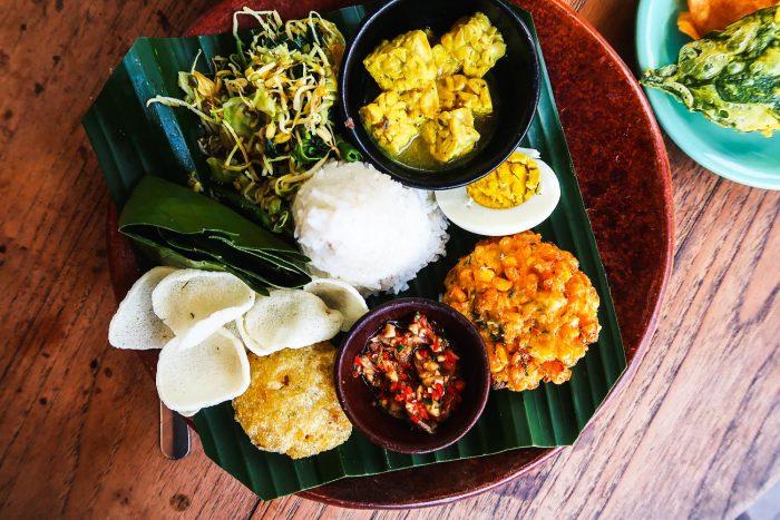 """Nasi Campur at a local """"warung"""" in Ubud, Bali"""