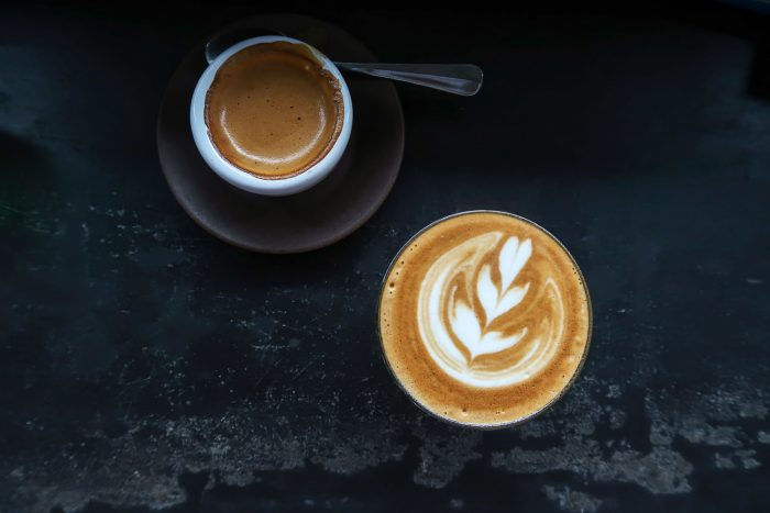 Flat white and espresso at Seniman Coffee in Ubud, Bali