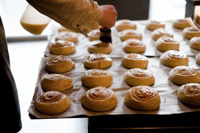 Cinnamon buns at Braud og co. bakery in Reykjavik, Iceland