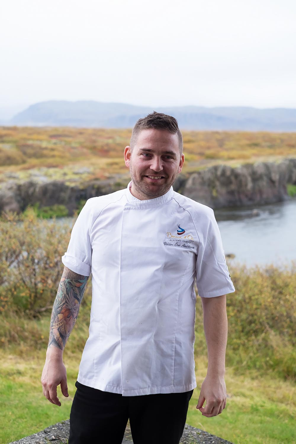 Chef Viktor Orn Andresson, bronze winner at Bocuse d´Or 2017, in Iceland