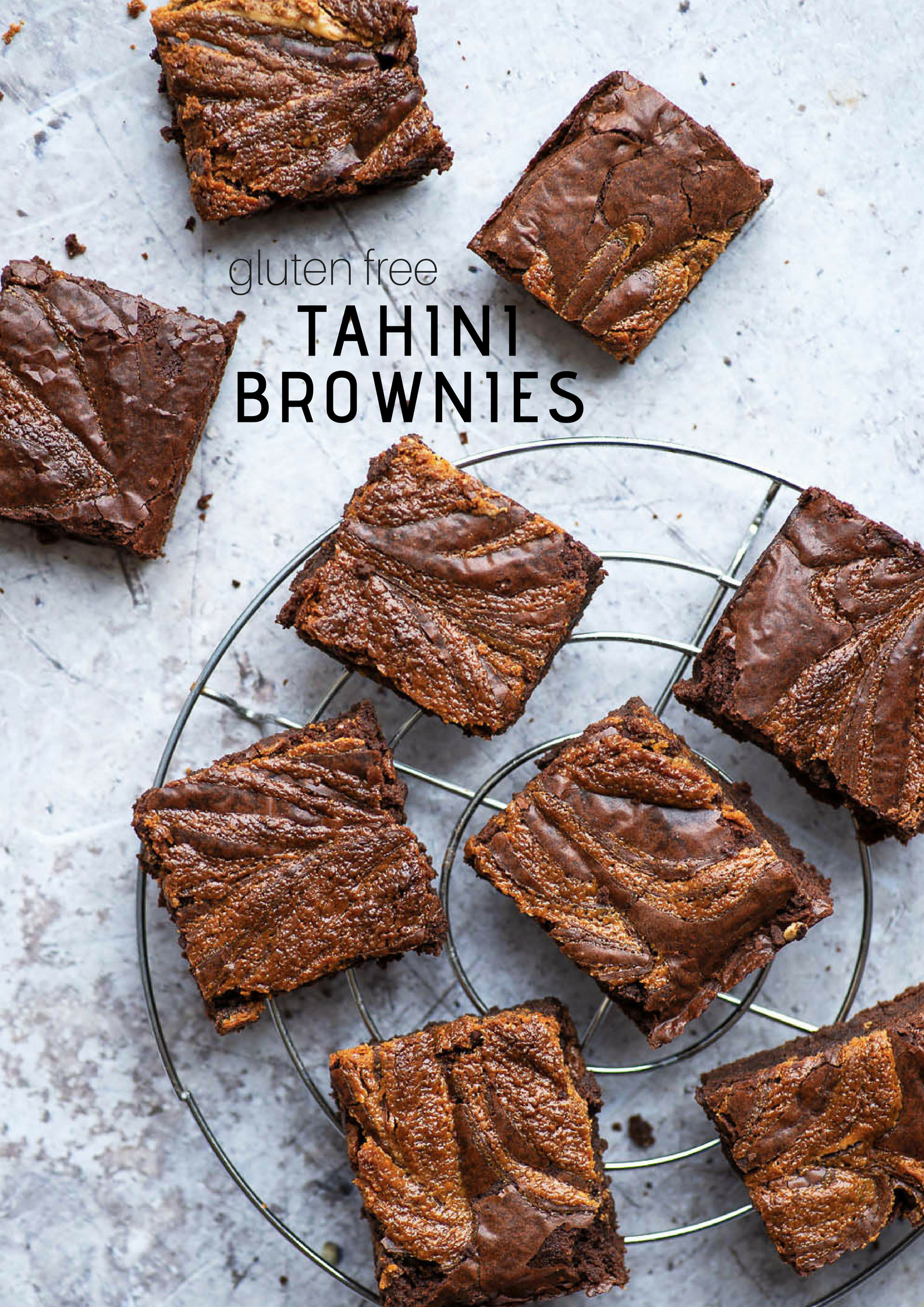 Gooey and soft Dark Chocolate and Tahini Brownies. Flourless and gluten free (replace butter with coconut oil for a dairy free version) | Mondomulia
