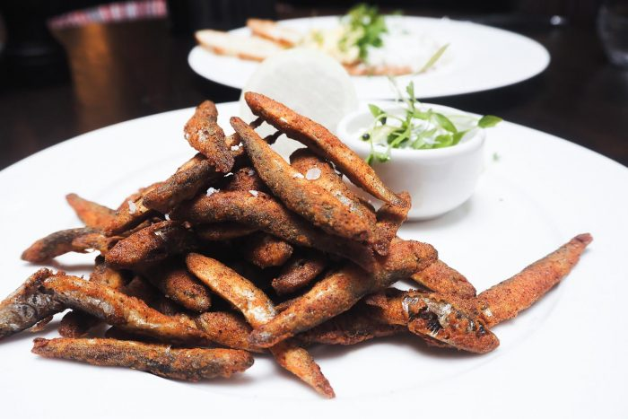 Crispy Devilled Whitebait served with tartare sauce and fresh lemon | Mr White's English Chophouse restaurant in Whitechapel, East London